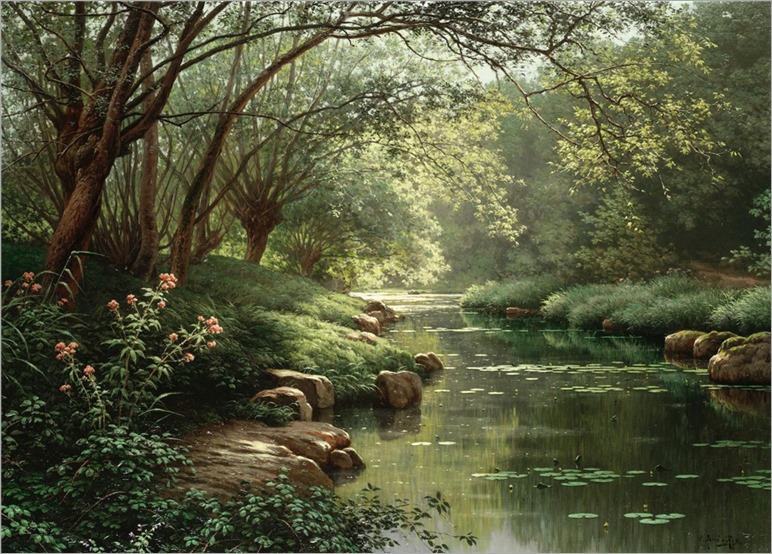 Réne Charles Edmond His (1871-1960) Pollards by the stream