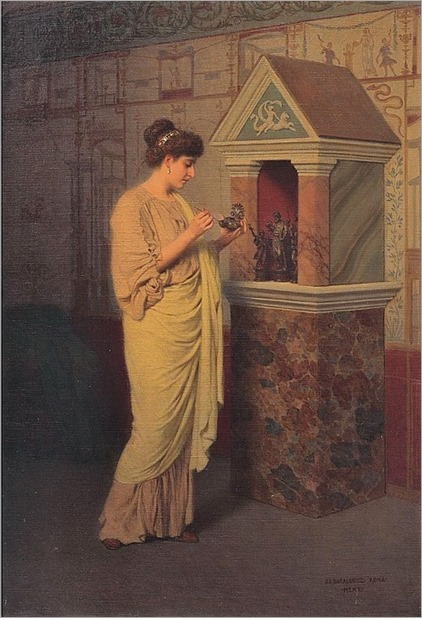 STEPAN VLADISLAVOVICH BAKALOWICZ 1857-1947 LIGHTING A CANDLE BEFORE THE ALTAR