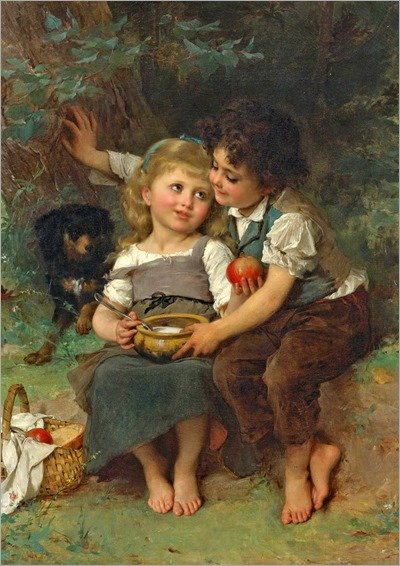 The bowl of milk_1881 - Emile Munier (french painter)