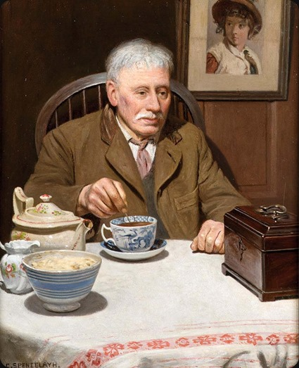 the old tea-caddy_Charles Spencelayh