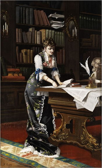Thomas Jakob Richter-or alternatively -Emil Theodor Richter-1801-1878, A lady reading a book in a library interior, 1879