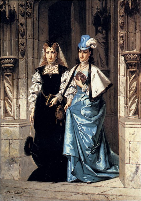 two_elegant_ladies_leaving_a_church-Ladislaus Bakalowicz