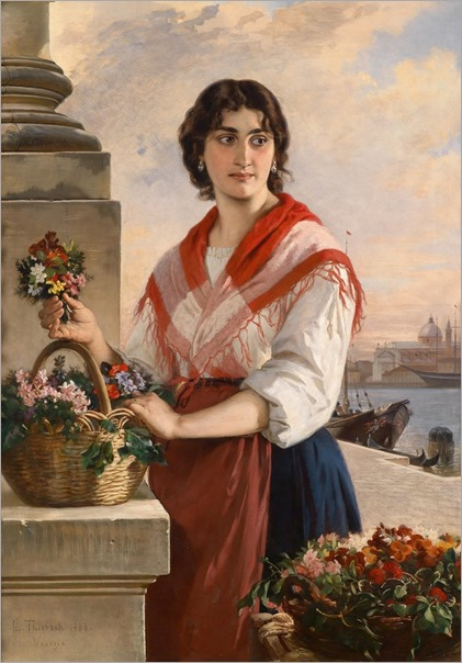 Venetian flower seller by Ludwig Thiersch (Munich 1825-1909)