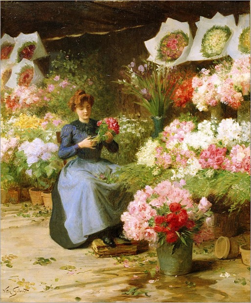 Victor Gabriel Gilbert - Flower Seller in front of the Madeleine Church