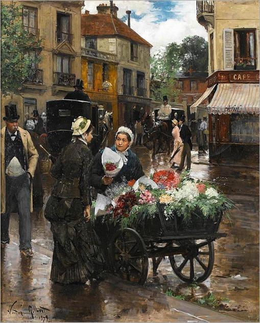 Victor-Gabriel Gilbert - Selling Flowers, Paris 1879