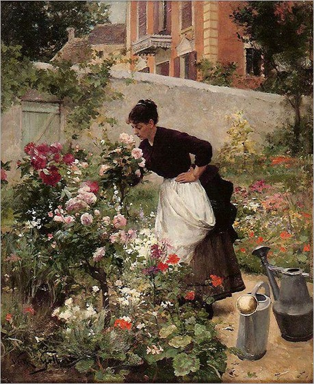 Victor-Gabriel-Gilbert_Jeune-femme-dans-le-jardin-fleuri