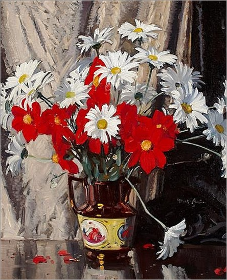 WALTER GRAHAM GRIEVE R.S.A., R.S.W. (SCOTTISH 1872-1937) MIXED FLOWERS IN A COPPER LUSTRE JUG