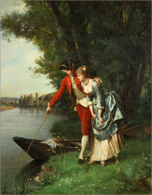 young couple by the brook-emile pierre metzmacher