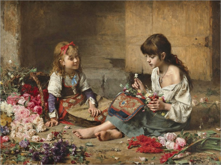 young flowers girls-A. Harlamoff
