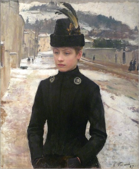 Young Woman of Nancy in a Winter Landscape -1887- Emile Friant