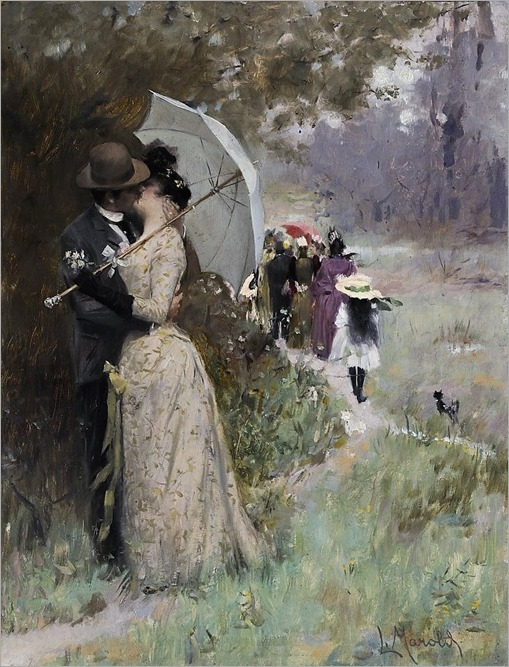 A Kiss under the Parasol - 1895 - Ludek Marold (czech painter)