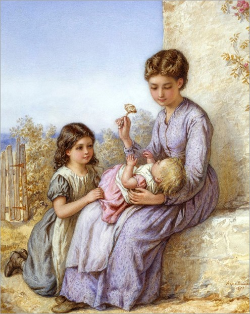 'Playing with the Rattle' – girl holding a baby