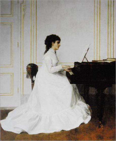 ALFRED STEVENS, Eva Gonzalèz no Piano, 1879