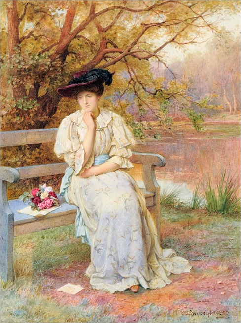 An elegant lady seated on a bench with a posy _Charles Edward Wilson (1854-1941)