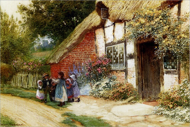 ArthurClaudeStrachan_children_playing_outside_a_cottage