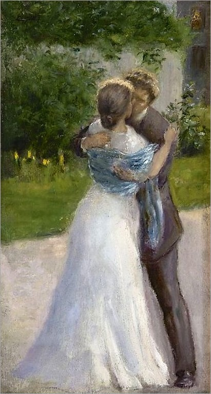 Bride and groom kissing - Josef Anton Engelhart (dutch painter)