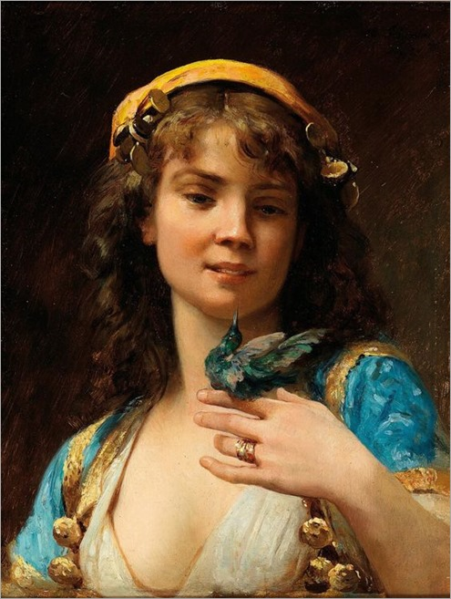 Charles Baptiste Schreiber - Girl with Hummingbird