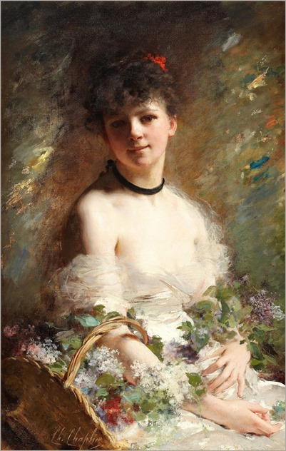 Charles Chaples (1825-1911) Young woman with flower basket