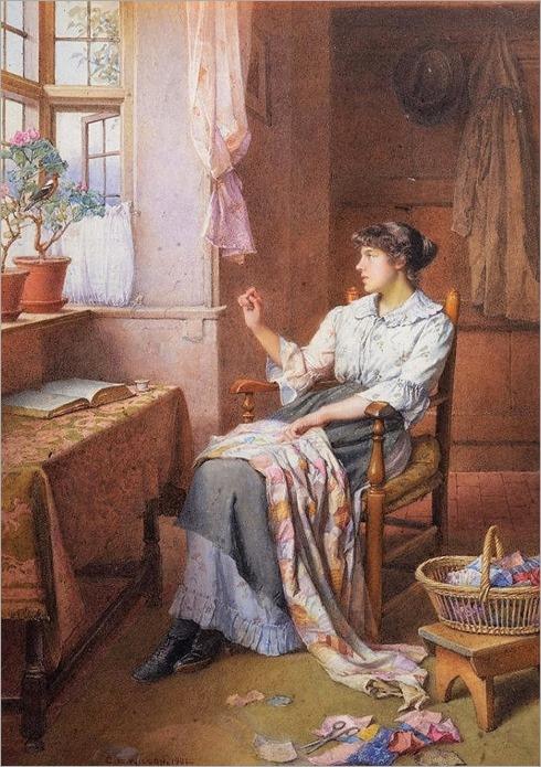 CHARLES EDWARD WILSON (1853-1941) 'A Morning Call'-1901, watercolour