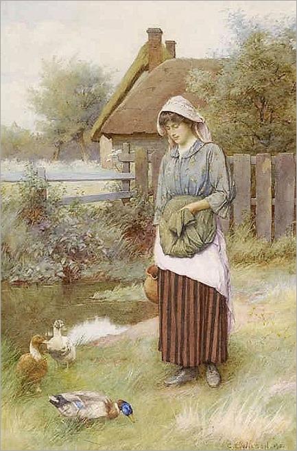 Charles Edward Wilson (1853-1941) Girl standing beside a stream-1902