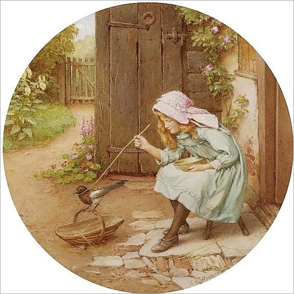 Charles Edward Wilson , 1854-1941 bird tickling- watercolour