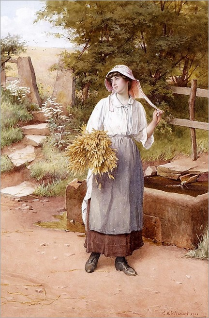 Charles Edward Wilson (British, 1854-1941)- Young maid and corn sheaf
