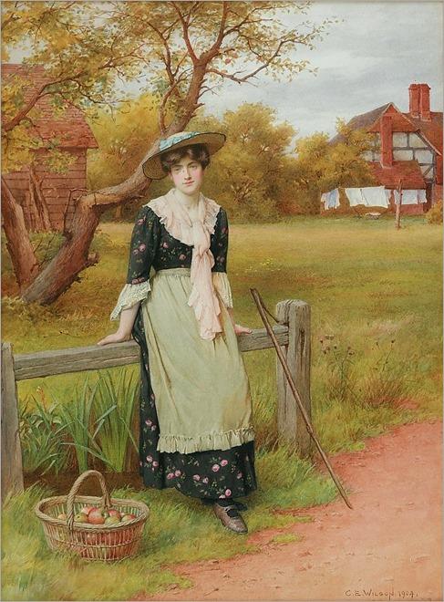 Charles Edward Wilson (british,1854-1941)- bird tickling -watercolour