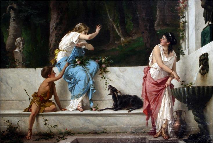 Classical maidens at a spring- Luigi Crosio (Italian, 1835-1915)