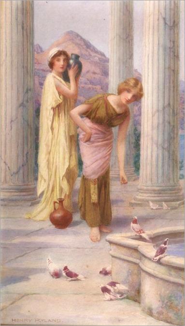 classical-maidens-feeding-birds-henry-ryland