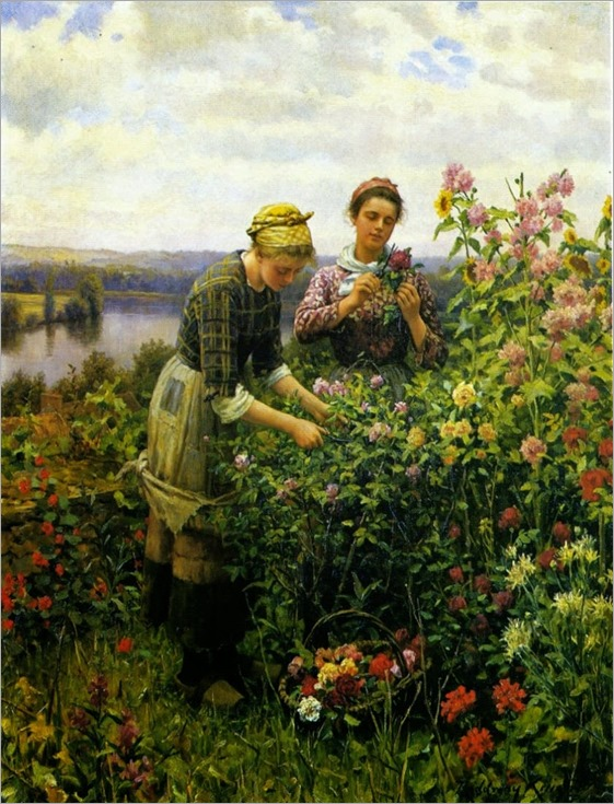 Daniel Ridgway Knight (American-born French genre painter, 1839-1924) Cutting Flowers