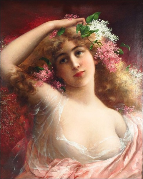 Emile Vernon, French, 1872-1919, Lady with Lilacs