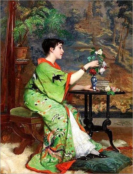 Frans Verhas (Belgium painter) 1827 - 1897,Jeune Femme en Kimono dans un Intérieur