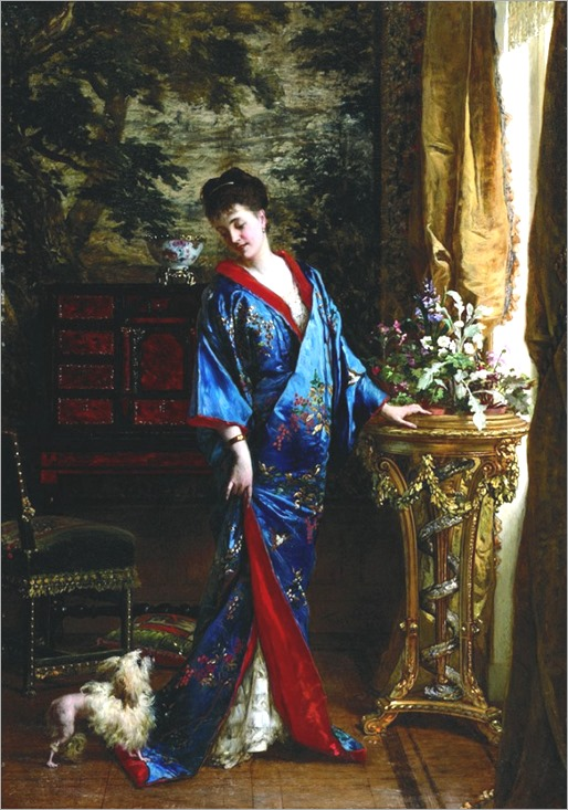 Frans Verhas (Belgium painter) 1827–1897, Lady in a kimono