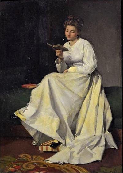 Friedrich Karl STEINHARDT (german 1844-1894)-femme assise a la lecture