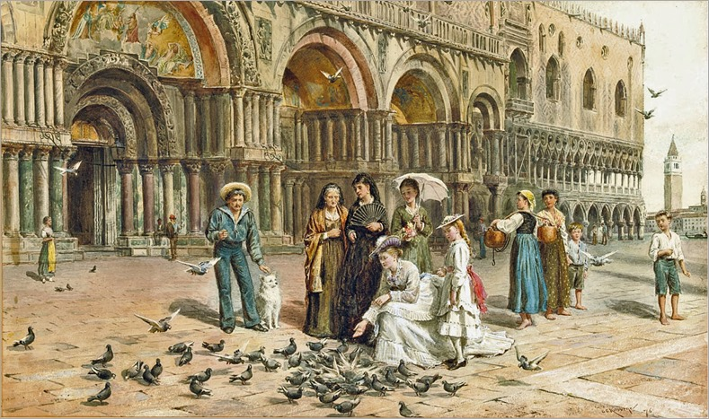George Goodwin Kilburne - The Pigeons of St Mark's, Venice, Italy 1876