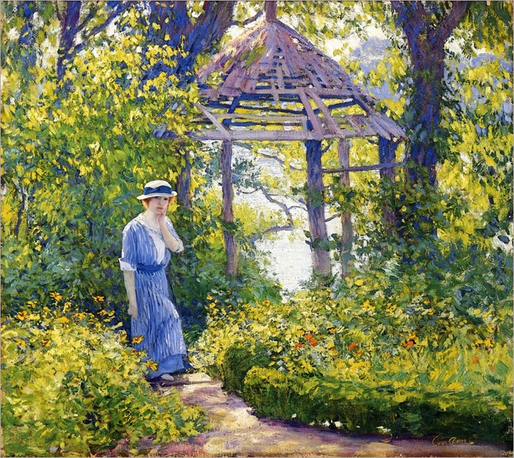 Girl in a Wickford Garden, New England - Guy Rose (american painter)