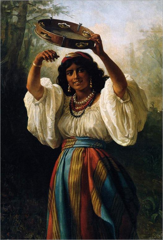 gypsy with a tambourine_Khariton Platonov (1877)