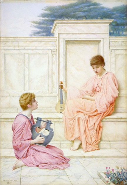 Henry Ryland (English, 1856-1924) Two Ladies Playing Musical Instruments on a Marble Terrace. ca. 1891