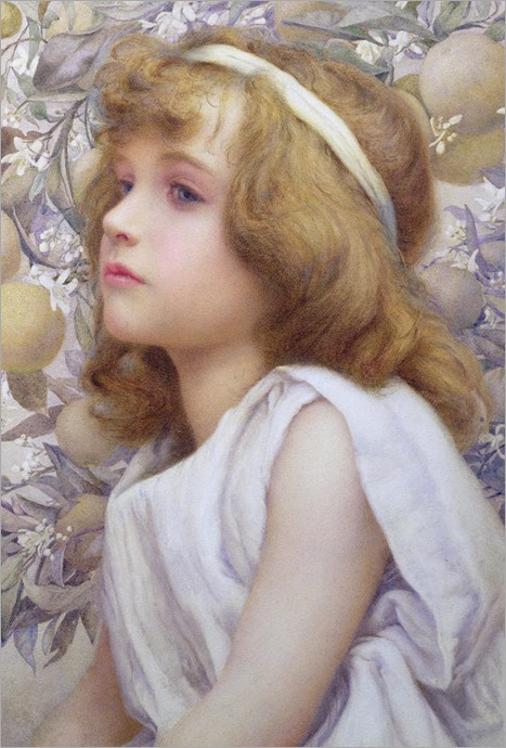 Henry Ryland - Girl with Apple Blossom