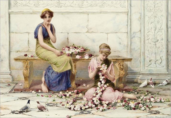Henry Ryland rose garlands