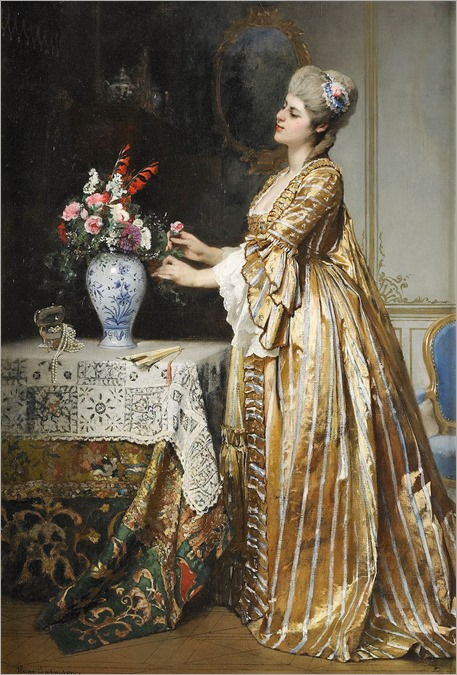 Hugo Salmson (1843 - 1894) - An elegant lady in a parlor