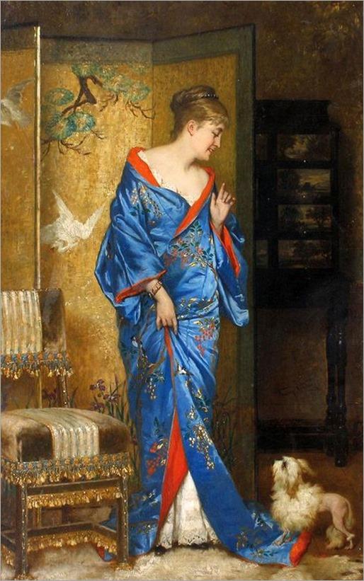 Jan Francois Verhas - Lady in kimono japonais