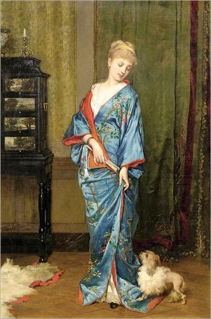 Jan Francois Verhas - Lady in kimono