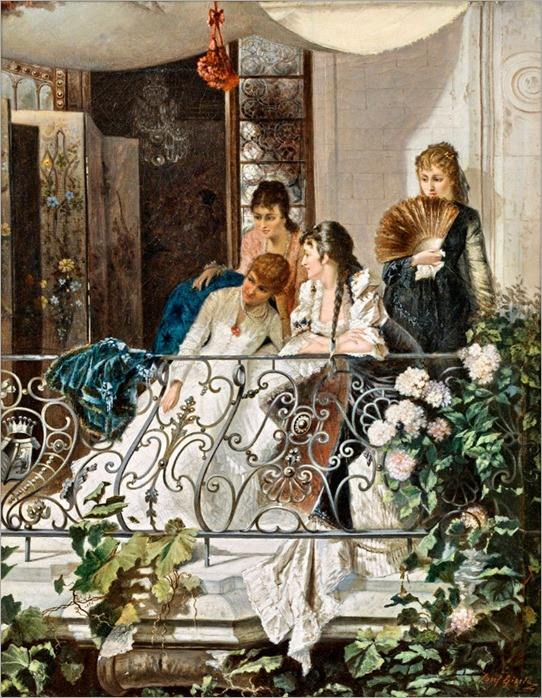 Josef Gisela (1851-1899) Young women on a balcony