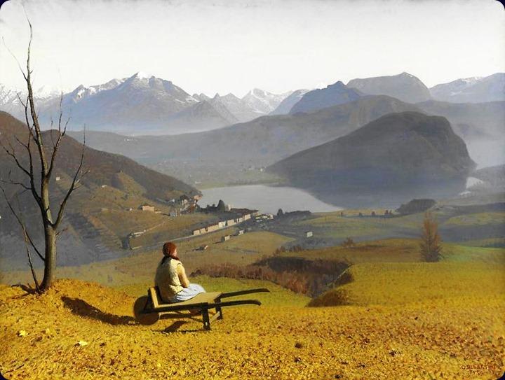 La Stretta di Lavena, Lago di Lugano - 1932- Oreste Albertini (italian painter)