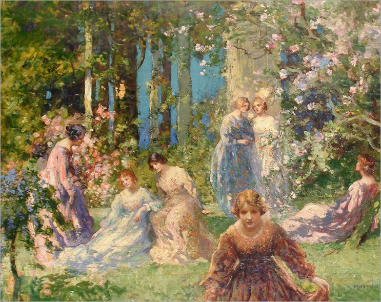 Ladies in a Garden by Thomas Edwin Mostyn