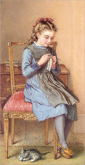 Little girl knitting with a kitten at her feet. Agnes Rose Bouvier (British, 1842-1892)