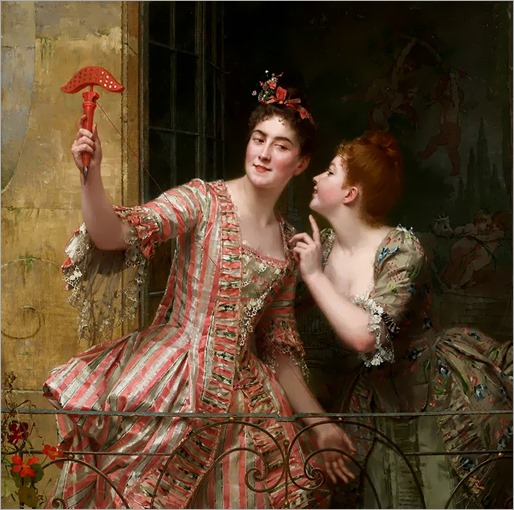 Émile Villa.-Zwei elegante Damen am Balkon
