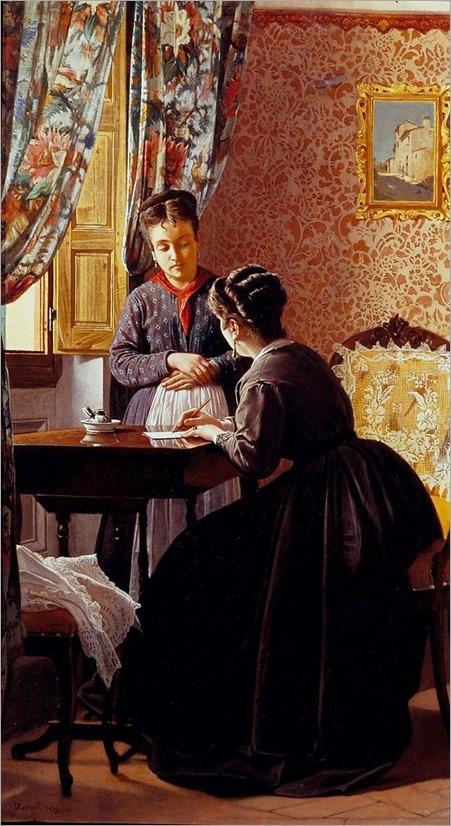 Odoardo Borrani (Italian,1833 – 1905) - The Illiterate (1869)