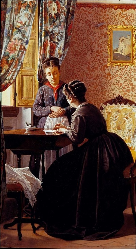 Odoardo Borrani (Italian,1833 – 1905) - The Illiterate (1869)